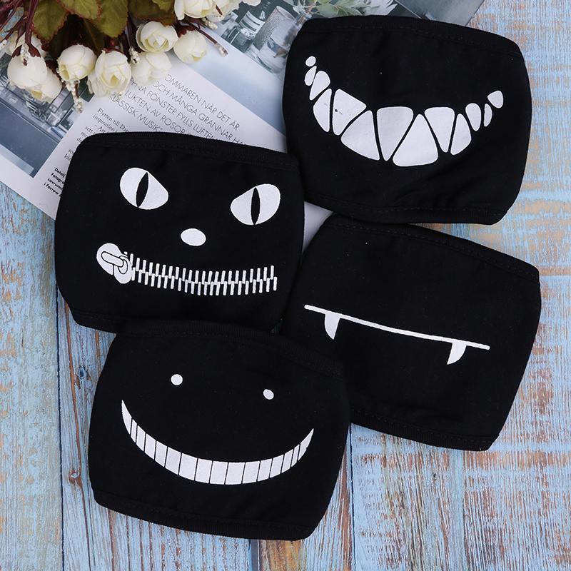 Black Anime Cartoon Party Kpop Unisex Muffle Face Mouth Masks Kawaii Cotton Dustproof Mouth Face Mask Random Ship FY9044