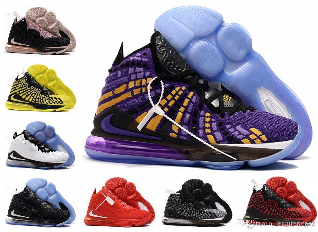 LeBron мужские 17 баскетбольные кроссовки Oreo Черный Белый Laker Фиолетовый Золотой Желтый Желтые дети высокие ботинки новые баскетбольные кроссовки с размером коробки US4-12