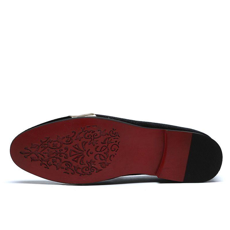 Neue Art und Weise Top Metall Toe Männer Samtkleid Schuhe italienische Mens-Kleid-Schuhe handgemachte Loafers C2-2382