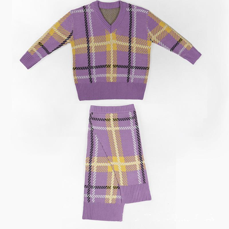 2019 Yeni Suit V-Boyun Düzensiz Bölünmüş Bayan Giyim 2 Adet Set Dikiş Triko Pileli Etek Bayan İki Adet Kıyafetler Tasarımcı Bir Boyut