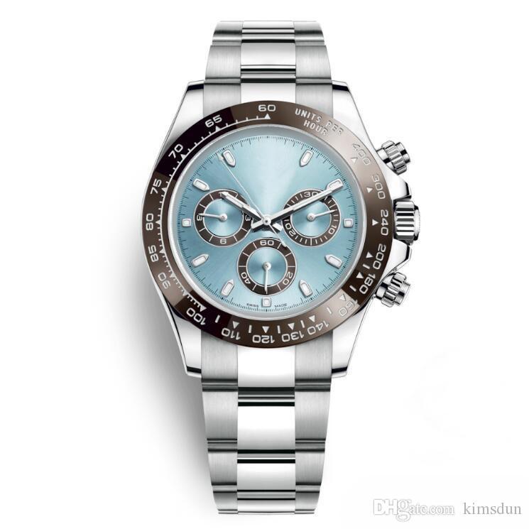 En çok satan lüks saatler 116506 stil 40 MM safir ayna seramik dış halka otomatik hareketi 316L paslanmaz çelik kayış havla ...
