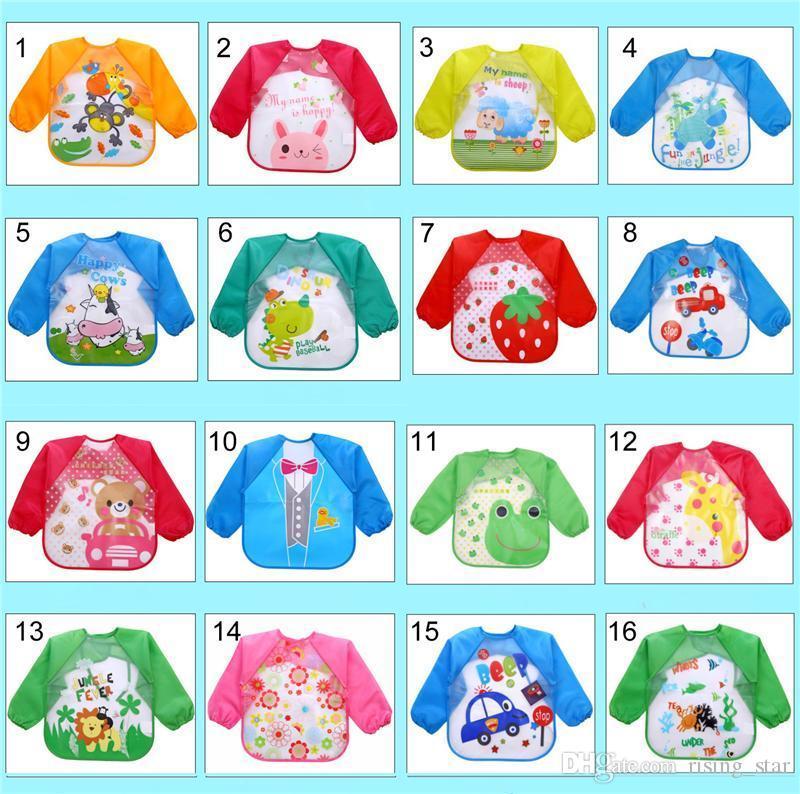El traje de niño del bebé de manga larga impermeable baberos niños Niños Alimentación del delantal delantal Comer ropa paños del Burp 18 estilos