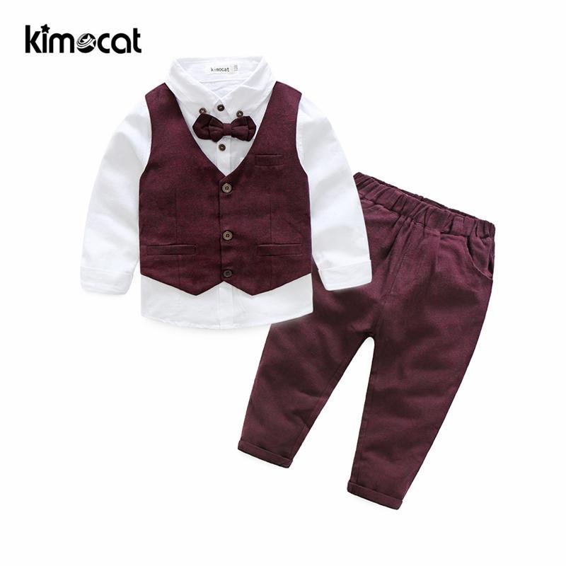 Kimocat Autumn Winter Boys Kids Sets Gentlemen Vest+shirt+pants Children's Cotton Clothes Baby Boy Clothing Long Sleeve Suit J190425