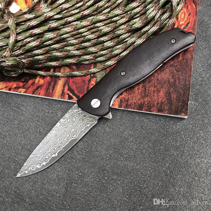 2020 neue Ankunfts-Damaskus Flipper Folding Messer Damaskus-Stahlblatt Palisander Griffkugellager im Freien kampierende EDC Taschen-Geschenk-Messer