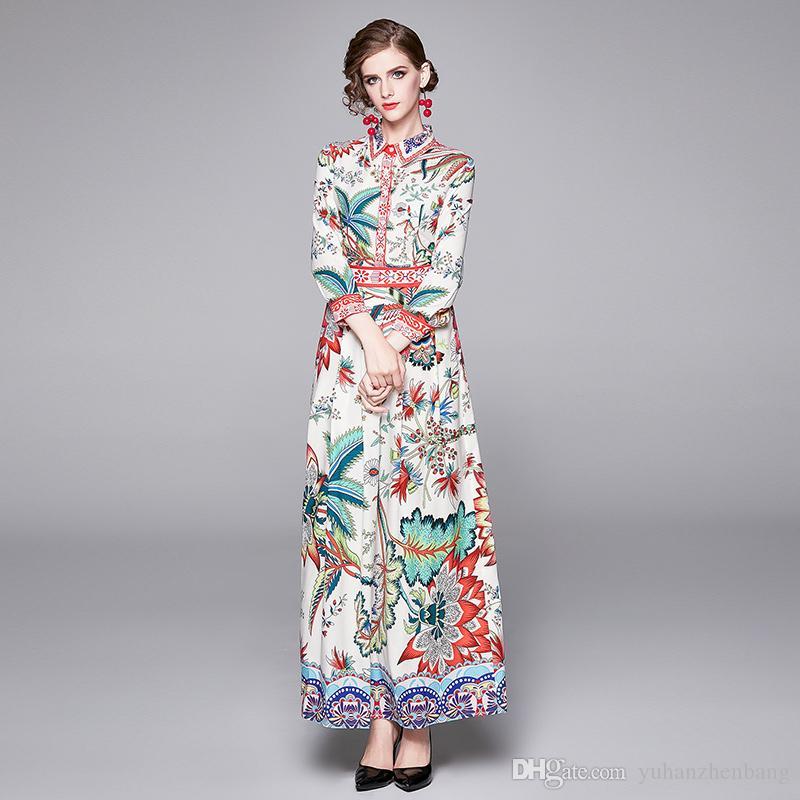 2020 Pista impreso floral diseñador del botón de las mujeres del vestido largo de la manga de la solapa del cuello Prom Party Camisa de las señoras del vestido de los vestidos elegantes ocasionales oficina