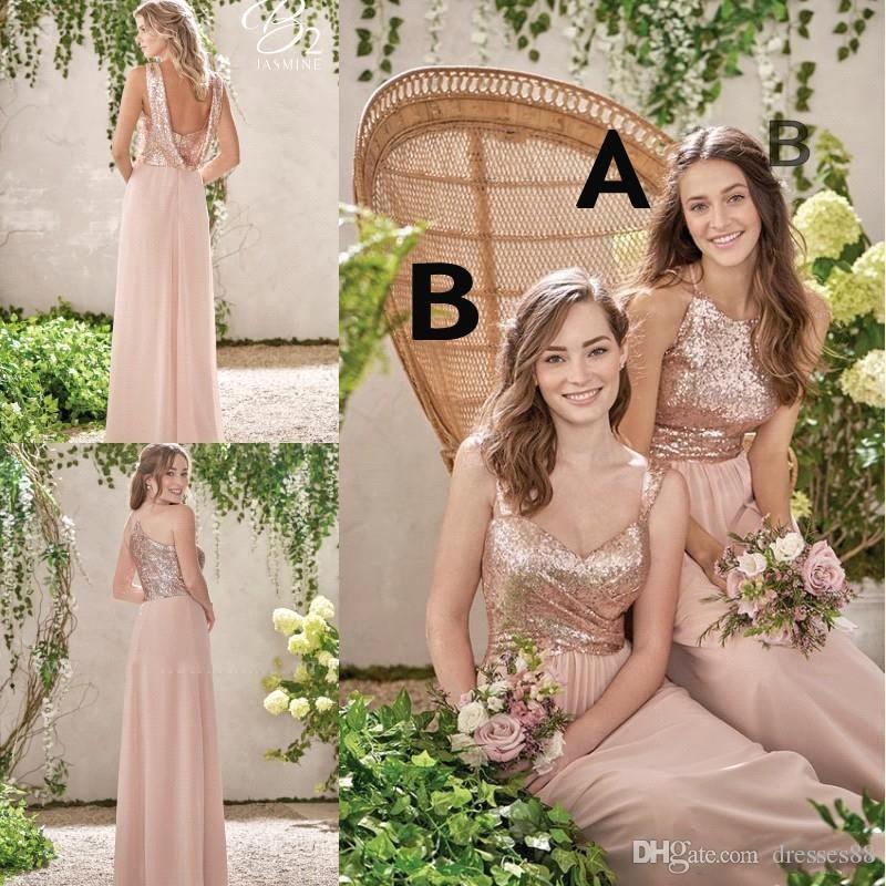 New rose gold vestidos de dama de honra uma linha de espaguete backless lantejoulas chiffon barato longo casamento vestido de geada vestido de dama de honra vestidos