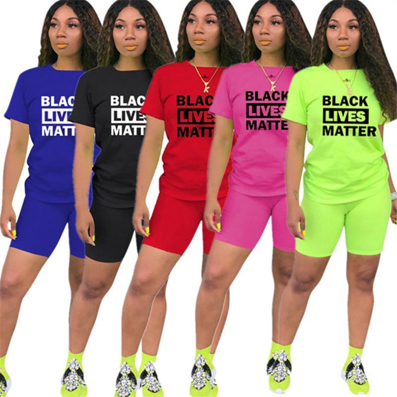 Fashion Frauen Shorts Anzug Schwarz Lives Matter Brief Zweiteiler Kurzarm T-Shirt Sommer Street Anzug