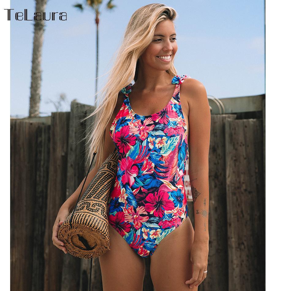 2019 Sexy One Piece Swimsuit Women Swimwear Push Up Monokini Ruffle Bathing Suit Print Swim Suit Bodysuit Summer Beach Wear Y19072701