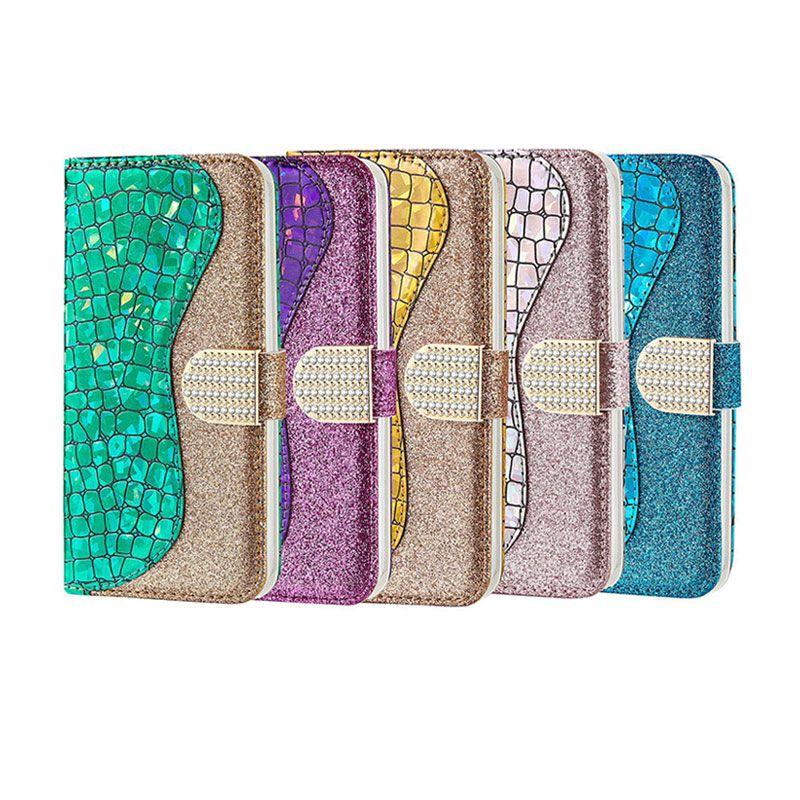 Per il caso del telefono Portafoglio huawei p30 pro per iPhone 11 pro max x xs xr 6 7 8 più portafogli copertura della cassa del telefono delle cellule di scintillio di diamanti