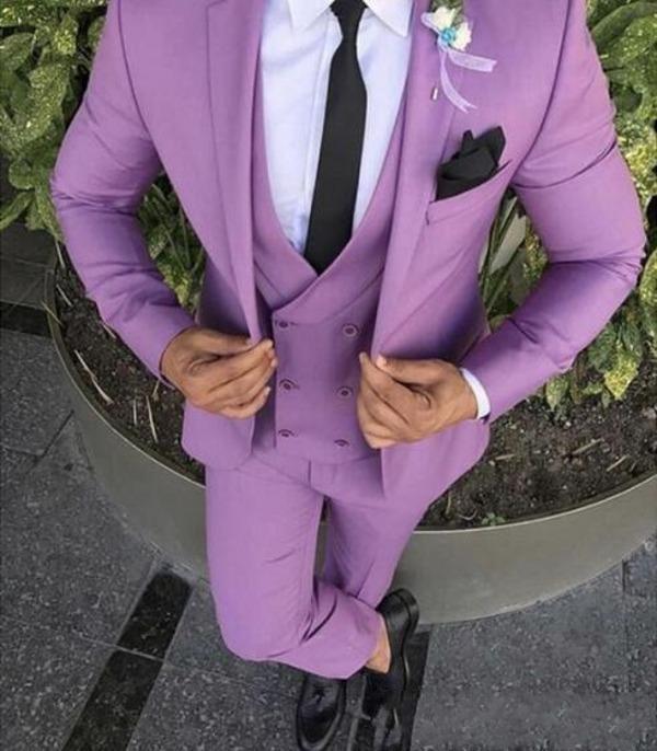 Apuesto tres piezas boda esmoquin 2020 trajes de novio con muesca solapa del Mens sistemas de la ropa de los padrinos de los smokinges (Jacket + Vest + Pants) AL6318