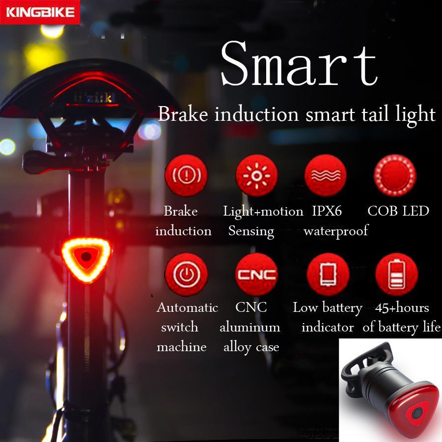 BATFOX USB Retroilluminazione bici Bicicletta Auto Start / Stop Brake Sensing IPx6 LED impermeabile Charging mtb Cycling Taillight