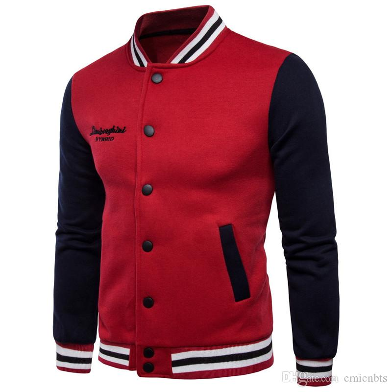 Base-ball d'hiver homme Pulls épais Cardigan Couples Support collier hoodies Casual Male Vêtements breasted simples