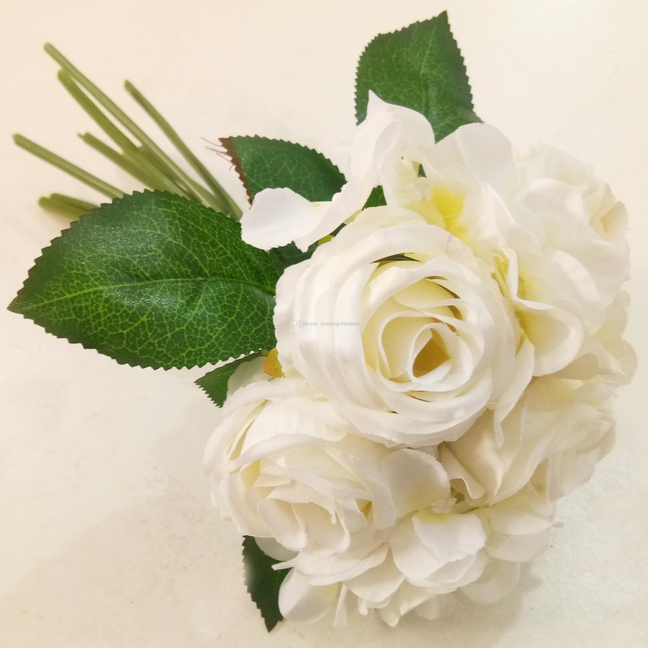 GHY-FL-77 arranjo de casamento de alta qualidade agradável flores artificiais 18 cabeças flor rosa broto para exibição festa ou casamento Decoratio1