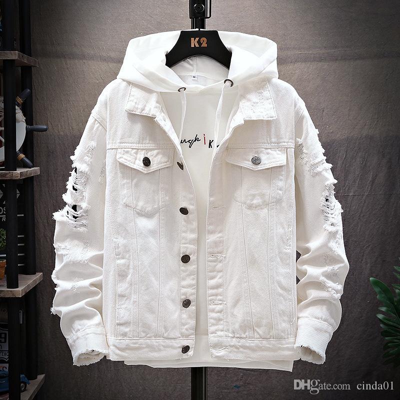Mens Jackets Hole maniche Trend Mens Abbigliamento autunno e l'inverno adattano il retro denim classico del rivestimento strappato Large Size M-3XL