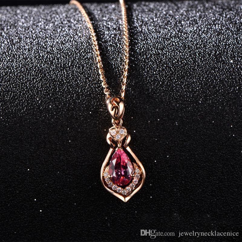 Rubi pingentes colares Belas Vintage Jóias chique nupcial do acoplamento do casamento Colar Bijutaria Imitação 925 colar de prata Sterling