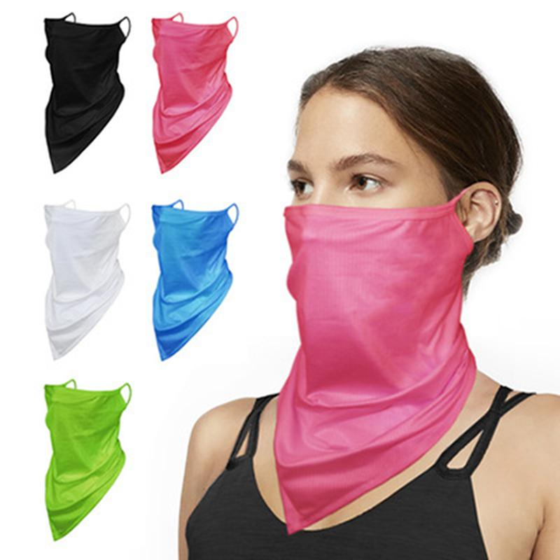 Solid Color Triangle шарф Ice Шелковых маски Мужской и Женской сетки дышащей езды висячей уха Магия шарф партия Маска IIA413
