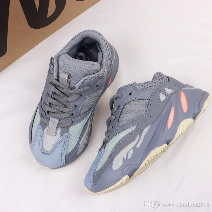700 Çocuk Ayakkabı Tasarımcı Dalga Koşucu Katı Gri Atalet Leylak Bebek Ayakkabıları Yüksek Kalite Kanye West 700 Koşu Ayakkabıları Çocuk Sneakers