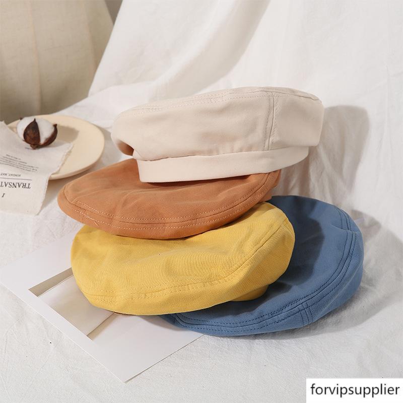 Boina feminina all-jogo fina artista respirável temperamento cor sólida chapéu octagonal