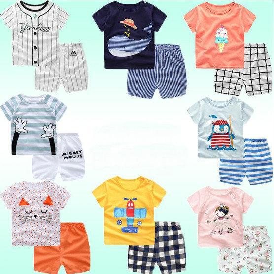 25 Farben 2019 Sommer Baby Jungen niedlichen Cartoon gedruckt Shorts Anzüge (T-Shirt + Short) Kinder Kinderkleidung Sets Outfits Sport Sets Trainingsanzug