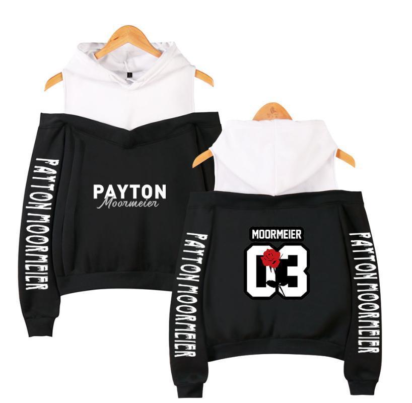 Fashion Payton Moormeier Ladies Suspenders Sweatshirt Women Casual Off-the-shoulder Hoodies Street Wear Black Summer Clothes 300