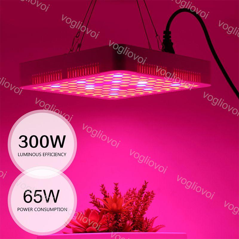 Voll-Spektrum-LED-Wachstum-Leuchten 100LEDS 65W Square Guter Kühler ABS PMMA-Abdeckung für abgedeckte Zelt Green Häuser Pflanze Hydroponische Systeme DHL