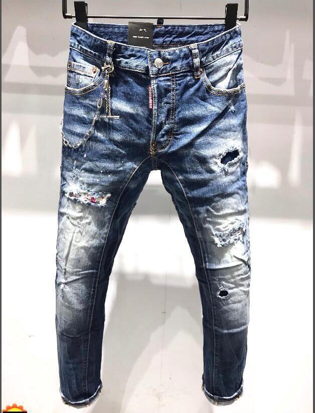 Denim Jean Bordado Tigre Calças Buracos de Brand New Men Estilo Jeans Zipper Homens calças calças jeans skinny 44-54 235