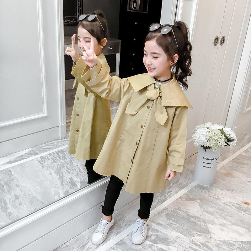 Enfants Trench pour les filles enfants New Fashion Trench coréenne en vrac Vestes kaki coupe-vent Manteaux Enfants Ados