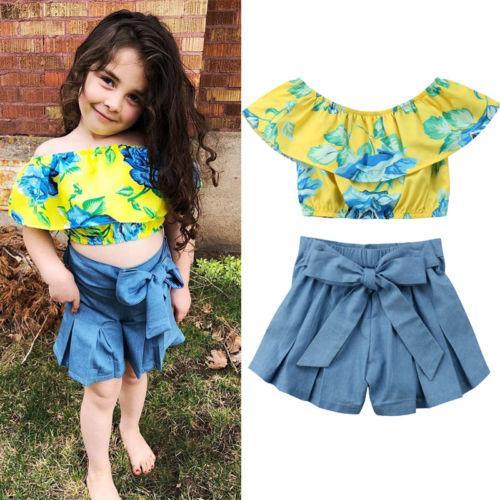 2018 новая детская одежда для девочек Baby Girl желтый цветочный гофрированные топы футболка+короткий джинсовый наряд набор Детская летняя одежда 0-5Y