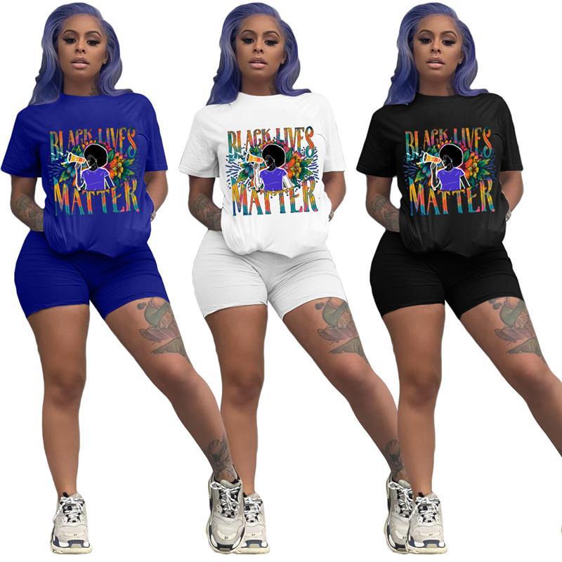 Donne Shorts tuta nera vive Materia Lettera di moda insieme a due pezzi Estate manica corta T Shirt + Shorts Outfits Sportswear vestito S-2XL