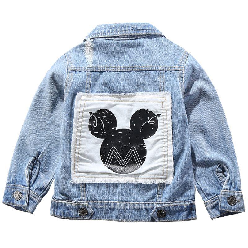 Kinder Mickey Denim-Jacken-Mantel 2019 neue Frühlings-Herbst-Kinder-Mode Oberbekleidung Junge Mädchen Loch Cartoon Jeans Mantel für 2-7 Jahre Y191026
