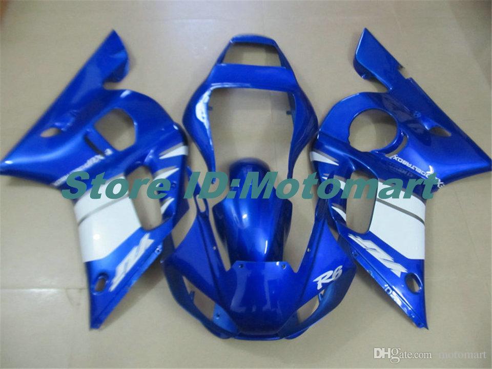 Motocicleta YAMAHA carenado kit para YZFR6 98 99 00 01 02 YZF R6 1998 2002 YZF600 carenados blancas azules Conjunto + regalos YG33