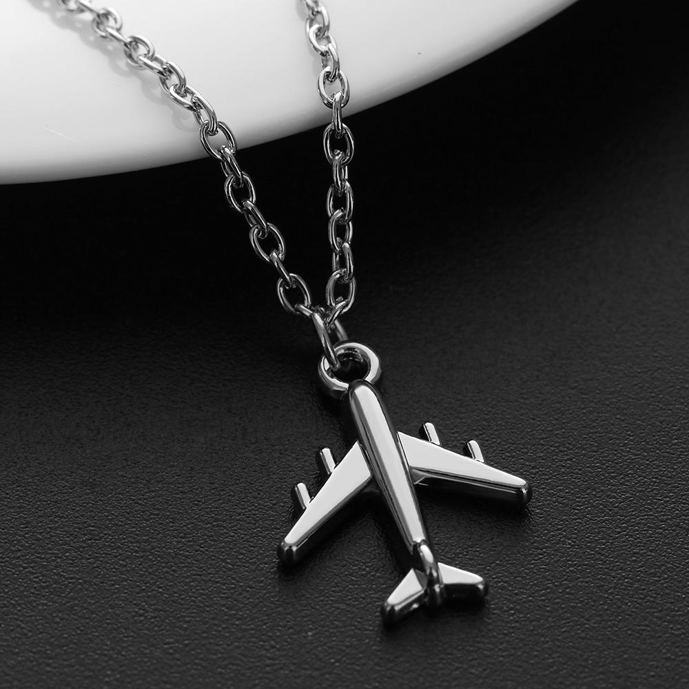 1Pc 2019 Handmade Silver Color Airplane Pendant Necklace Aircraft Choker Alloy Clavicle Chain For Women Men Jewelry Brincos