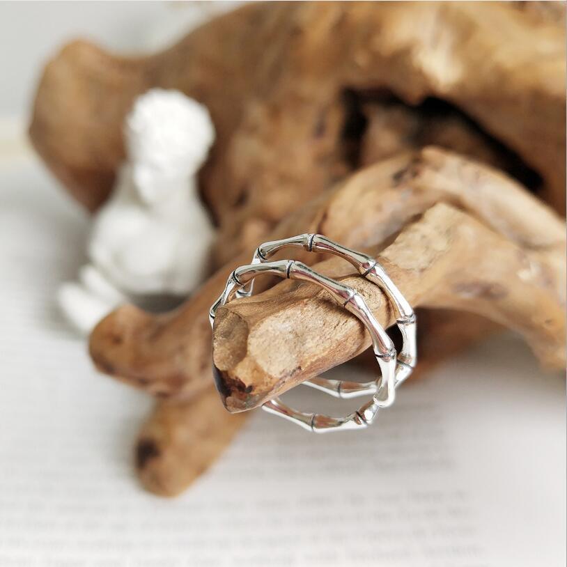 Nueva vendimia 925 plata esterlina doble bambú anillos abiertos para mujeres Punk plata esterlina-joyería anillo de dedo ajustable