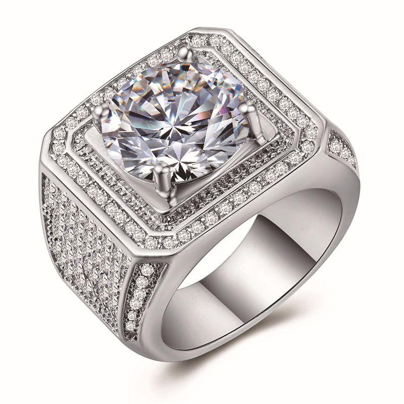 HipHop Men Jewelry anelli di rame placcato oro di colore 3A micro pavimenta la pietra della CZ Ring Square