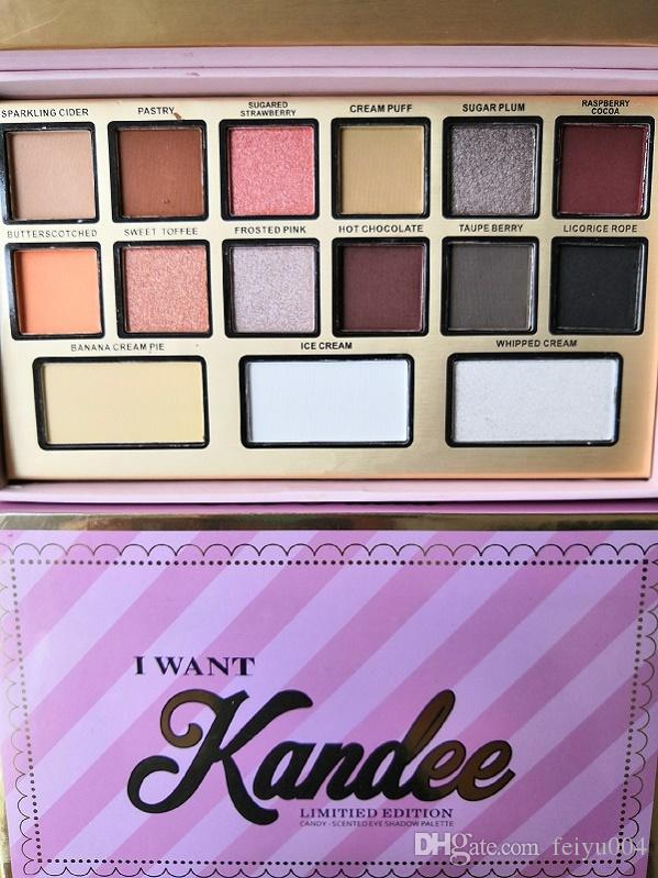Top Quality Faced I want kandee candy Eyeshadow Palette 15 Colors Makeup Pink Cute Elements Eye Shadow Waterproof Free Shipping