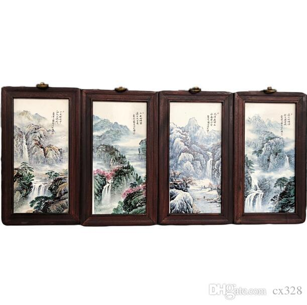 Porcelain panel painting four-screen antique small hanging screen painting Jingdezhen ceramic living room decoration painting new Chinese st