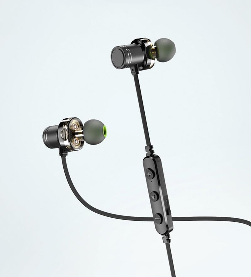 Sample Wireless Dual Speaker Stereo Sound Sports Earphones Earbuds Waterproof Noice-cancelling Black Grey Drop Shipping