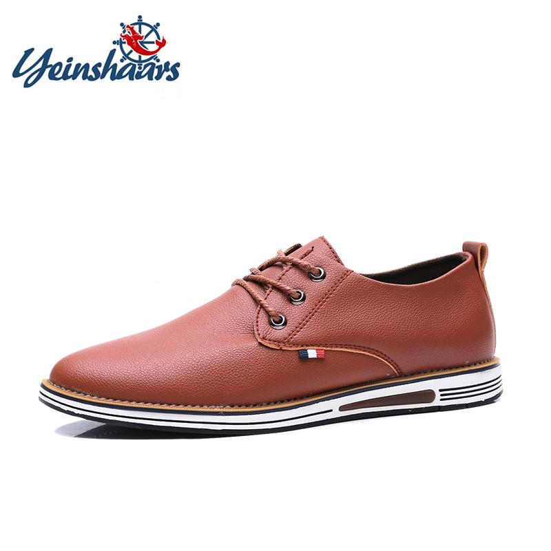 YEINSHAARS Moda tendenza coreano britannico uomo scarpe primavera autunno estate in pelle traspirante piatto scarpe casual da uomo