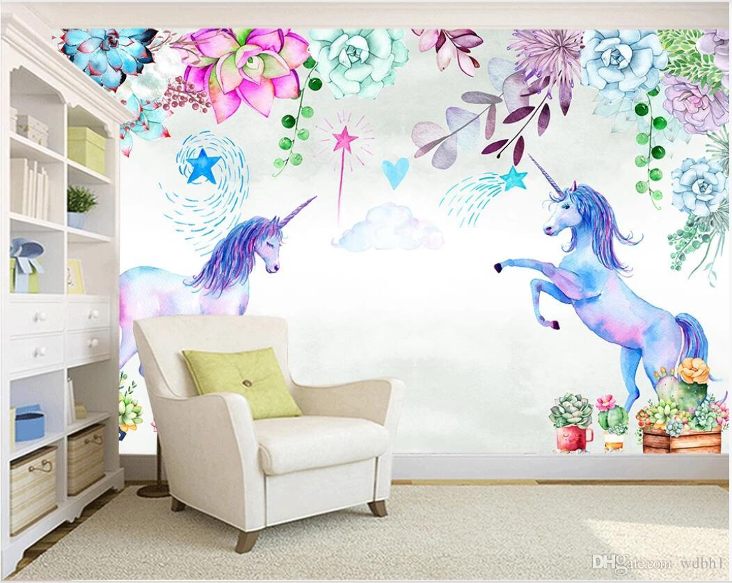 3d Wallpaper Custom Photo Mural Hand Painted Watercolor Succulents Unicorn Background Wall Painting Home Decor Wall Art Pictures High Definition