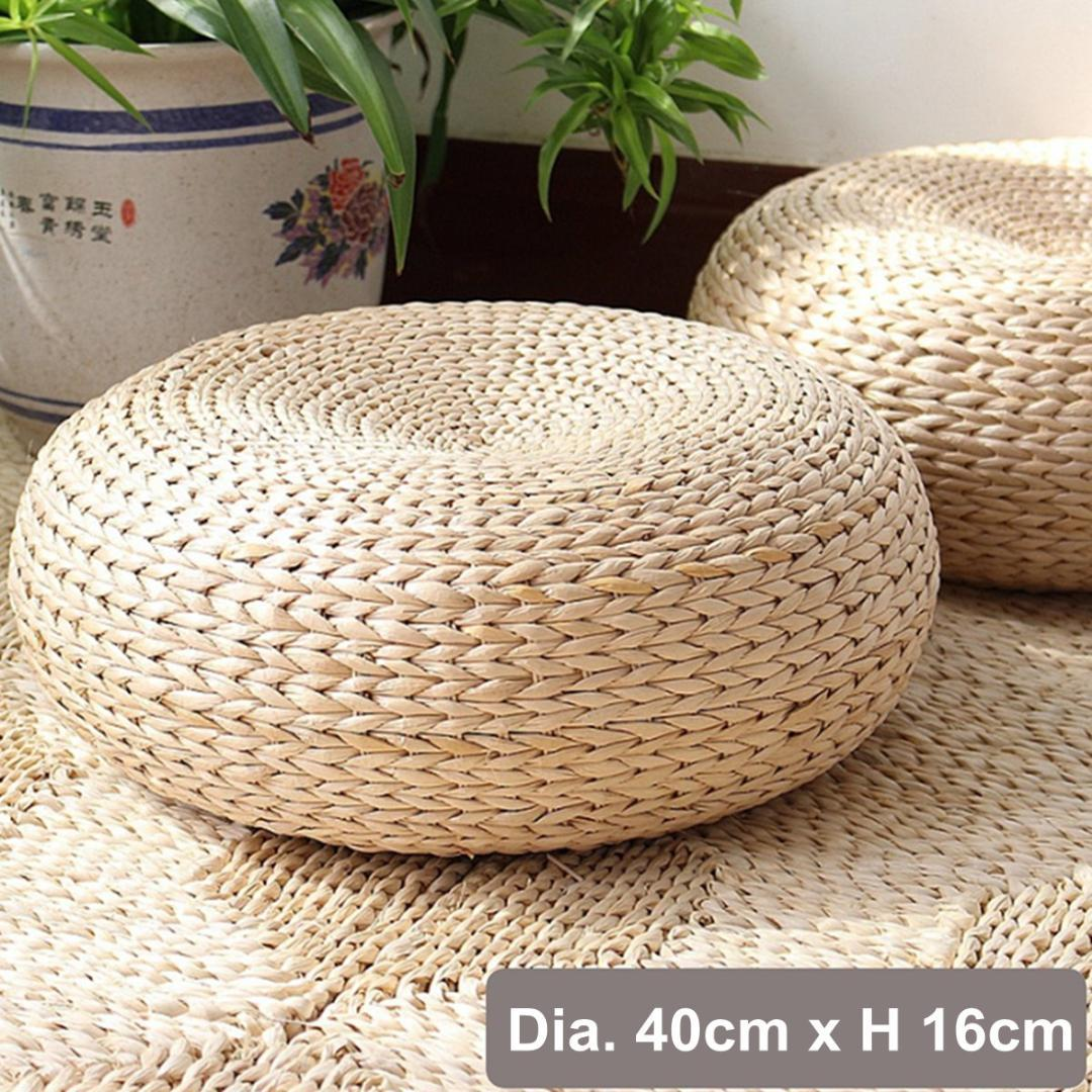 Handcrafted Eco-friendly Straw Woven Dia 40cm Seat Pouf Yoga Meditation Mat