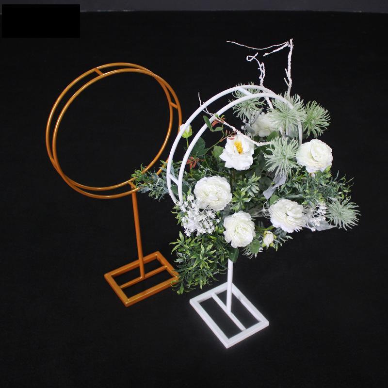 Mariage décoration fond rond en fer forgé T Station Road mariage plomb étape support métallique décoration florale Arrangement