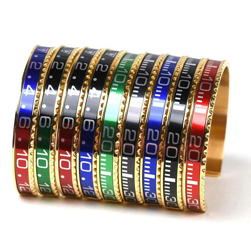 Итальянская мода мужчины Браслеты из нержавеющей стали Браслет-манжета Спидометр Официальный браслет браслеты женщина Позолоченные Jewery подарков