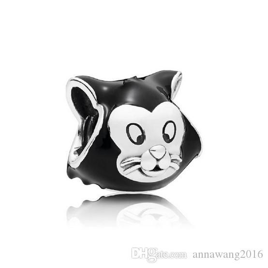 Kitty Cat Head 925 Sterling Silver Charms Bead Pendant Fits European Bracelet