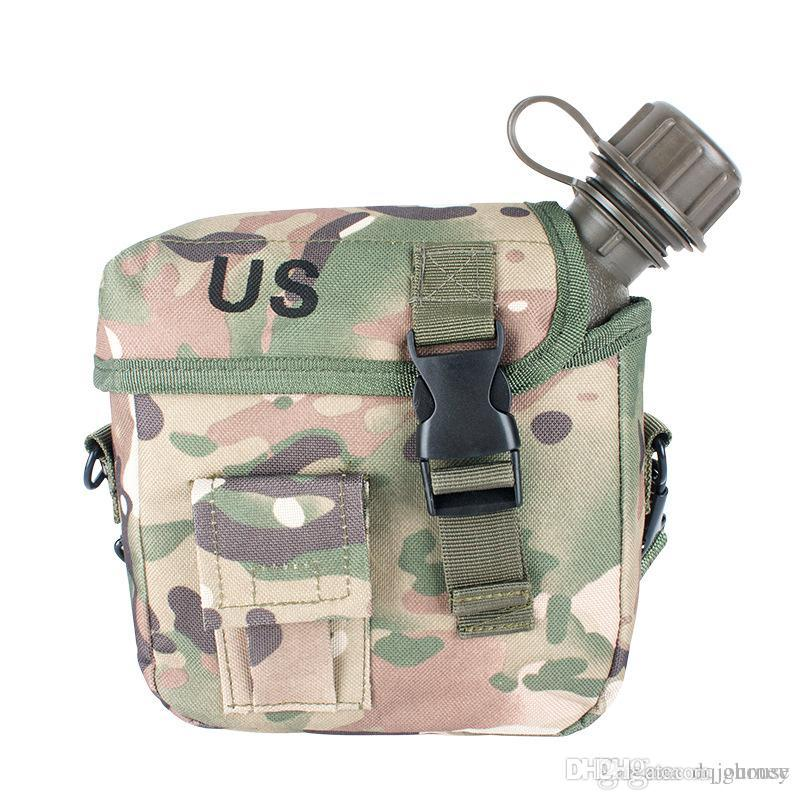 Outdoor-Camping-Multifunktions-Sport Retro Kessel mit Camouflage-Tuch Set Armee Kantine PVC-Wasserflasche Kit für Wandern