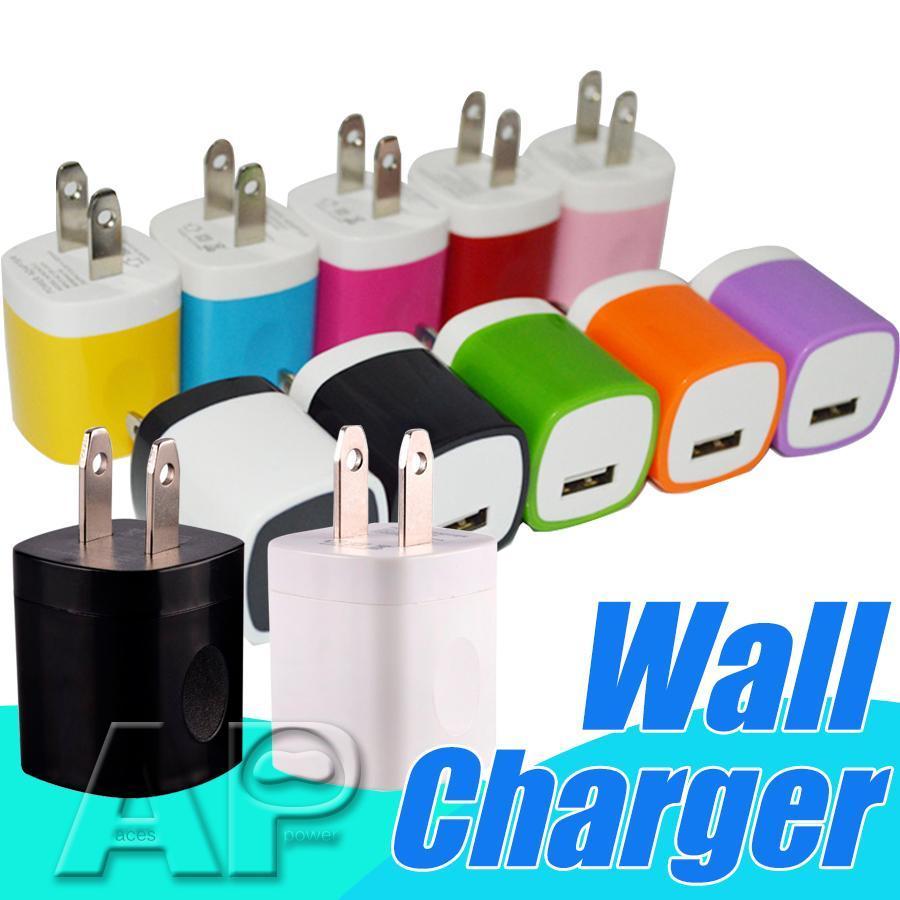 Impressão digital Carregador de parede 1A portas USB único US parede casa adaptador de tomada do carregador para HTC LG para samsung nenhum pacote