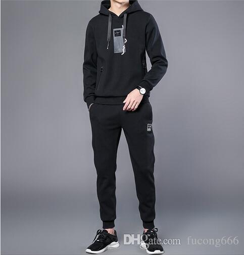 Herbst neues Produkt 01 Mode Flut Männer Sport und Freizeit zweiteilige Anzug Kapuzenpullover Männer große Größe lose Sportbekleidung