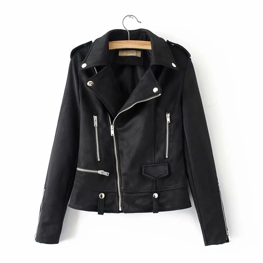 Chaqueta motera corta delgada femenina de moda otoño mujer chaquetas de cuero de gamuza elegante cool damas bomba abrigos negros