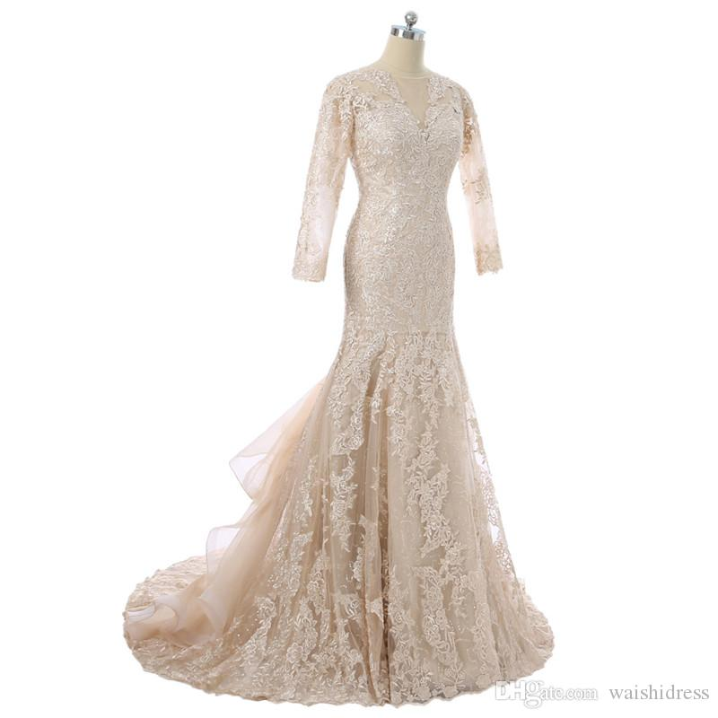 2018 Elegant Vestido de NOIVA MANGA LONGA MERMAID CHAMPAGNE Dentelle Robes de mariée Sexy Col V cou manches longues Robes de mariée de mariée