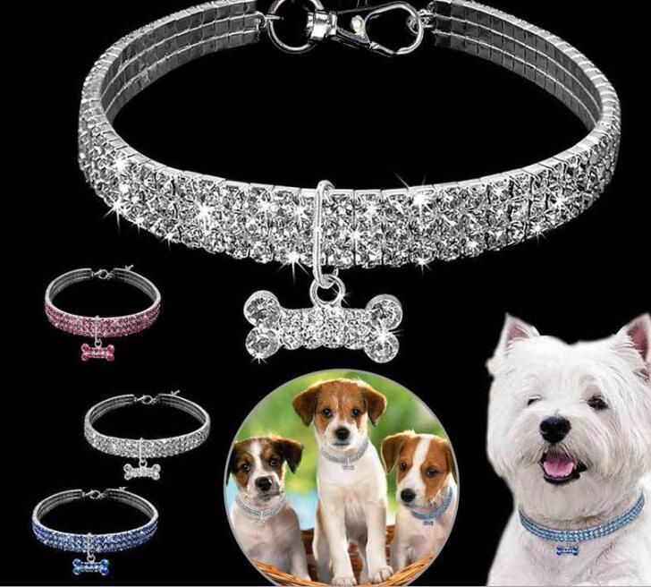 2020 Strass 3 fila elastico Pet Collana Catena Del Cane Gatto Collare di cristallo Pet Supplies Collare di cane di cristallo WY835