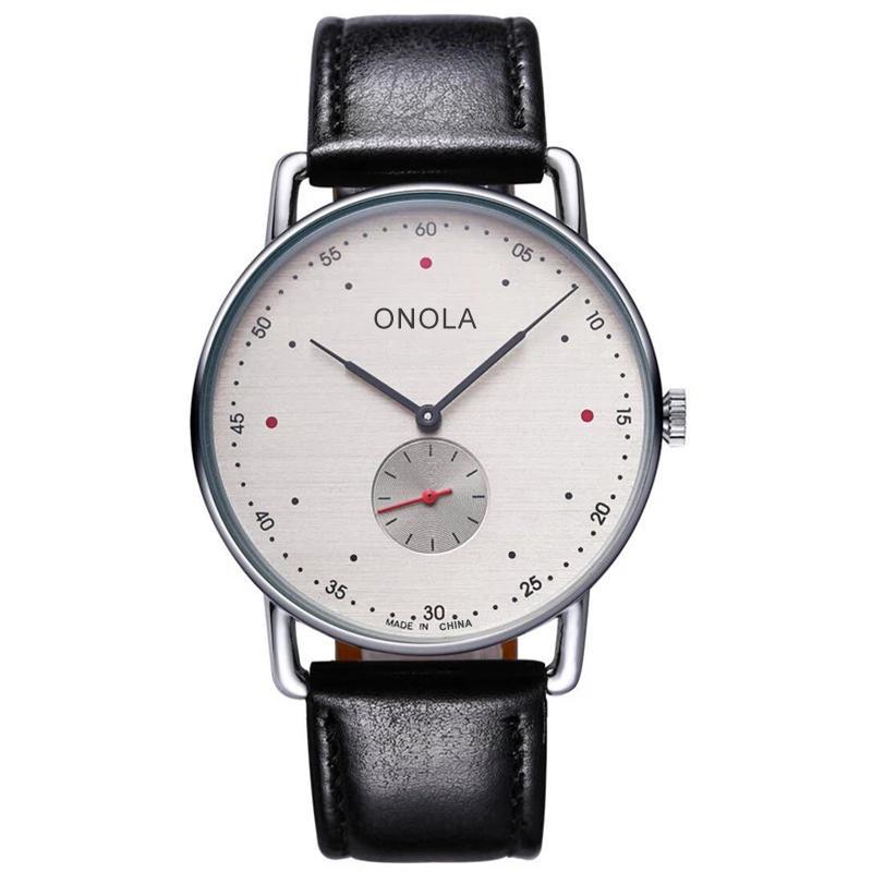 ONOLA 2.020 sencilla ultrafinos de cuarzo hombres del reloj clásico vestido de la marca de lujo de cuero / nylon resistente al agua reloj ocasional masculina Relogio Masculino
